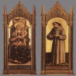 Carlo Crivelli (c. 1435 – c. 1495)  Madonna and Child; St Francis of Assisi  Wood, 1471-72  183 x 59,5 cm (each)  Royal Museums of Fine Arts, Brussels, Belgium